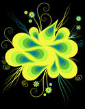 Vibrant clipart illustration. Pretty bright yellow design with flowers and spirals on black Stock Image