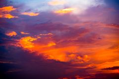 Vibrant clouds in dramatic sky Stock Photos