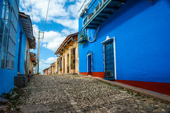 Vibrant colonial houses on street in Trinidad,Cuba Royalty Free Stock Images