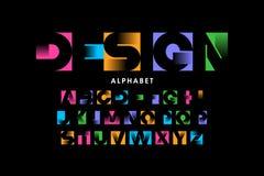 Vibrant color modern font vector illustration