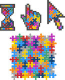 Vibrant Color Puzzle Computer Cursors. Royalty Free Stock Images