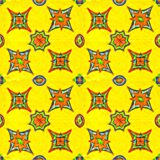 Vibrant color stars on yellow background . Seamless pattern vector illustration