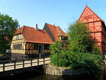 Vibrant Color Traditional Houses of the Northern Europe in Den Gamle By, The Old Town of Aarhus. Denmark Royalty Free Stock Photo