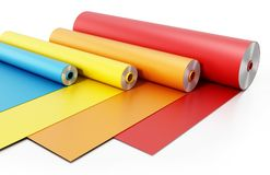 Vibrant colored adhesive films isolated on white background. 3D illustration.  Stock Photography