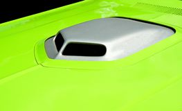 Vibrant colored customized car hood Stock Photos