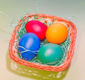 Vibrant colored easter eggs in a brown basket, gradient background, close up Royalty Free Stock Photography