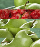 Vibrant colored green apple and strawberries Stock Photography