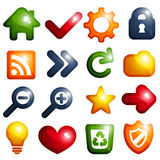 Vibrant colored icon set Stock Images