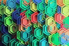 Free Vibrant Colored Large Hexagons Royalty Free Stock Photography - 140225927