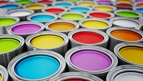 Vibrant colored paint cans background. 3D illustration.  stock illustration