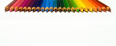 Vibrant Colored Pencil Tips in a Rainbow Pattern Royalty Free Stock Photo