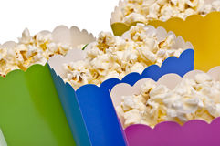 Vibrant Colored Treat Boxes Filled with Popcorn Stock Images