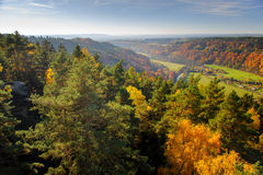 Vibrant colorful autumn landscape with long distance view Stock Images