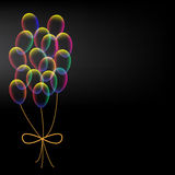 Vibrant colorful balloons on black background Royalty Free Stock Photo