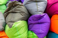 Vibrant and colorful bean bags on a seminyak beach bali on 11th december 2018. Multiple Vibrant and colorful bean bags on a seminyak beach bali on 11th december stock image