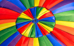 The Vibrant and Colorful Top of a Hot Air Balloon stock photography