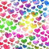 Artistic Watercolor Love Heart Background. A vibrant and colorful watercolor ink love heart pattern Stock Photos