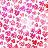 Pink Watercolor Love Heart Pattern Royalty Free Stock Photos