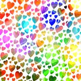 Shabby Chic Watercolor Ink Repeating Pattern. A vibrant and colorful watercolor ink love heart pattern Stock Images