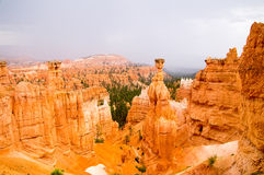 Vibrant colors of Bryce Canyon hoodoos in the rain. Summer rain in Bryce Canyon National Park, Utah USA Royalty Free Stock Images