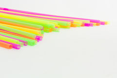 Vibrant colors drinking straws plastic type. Colorful plastic straws used for drinking soft drinks, fresh juices, smoothies which are using in hotels and Stock Photos