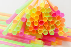 Vibrant colors drinking straws plastic type. Colorful plastic straws used for drinking soft drinks, fresh juices, smoothies which are using in hotels and Stock Image