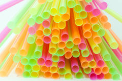 Vibrant colors drinking straws plastic type Stock Images