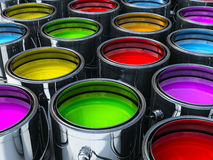 Vibrant colors paint cans. Multiple paint cans with different vibrant colors Stock Photography