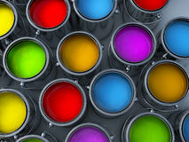 Vibrant colors paint cans. Assortment Stock Photography