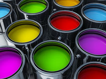 Vibrant colors paint cans. Assortment Royalty Free Stock Photo