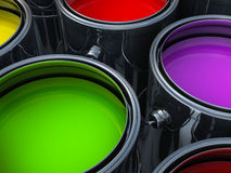 Vibrant colors paint cans Royalty Free Stock Photos