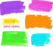 Vibrant colors vector felt pen stains Stock Images