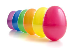 Vibrant coloured plastic eggs Royalty Free Stock Image