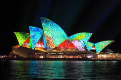 Vibrant colours on the Sydney Opera House Stock Photos