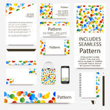 Vibrant confetti cards collection. Includes seamless pattern. Royalty Free Stock Photos