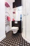Vibrant cottage - Bathroom with toilet. Vibrant cottage - Black and white bathroom with toilet Stock Photos