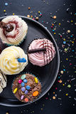 Vibrant cupcakes on plate on dark background Stock Image