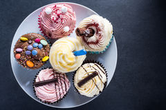 Vibrant cupcakes on plate on dark background Royalty Free Stock Photography