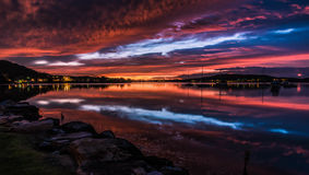 Vibrant Dawn Waterscape over the Bay Royalty Free Stock Photography