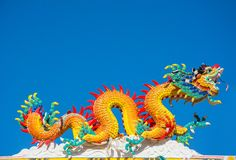 Vibrant dragon statue in Chinese temple Royalty Free Stock Photos