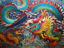 A Vibrant Dragons on the wall. Colorful dragons on the wall of the city Chinese temple open to public and allowed to take photos, without restriction in copy or royalty free stock images