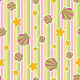 Vibrant edgy shell star pink green yellow. A playful, modern, and flexible pattern for brand who has cute and fun style. Repeated pattern. Happy, bright, and Royalty Free Stock Photography