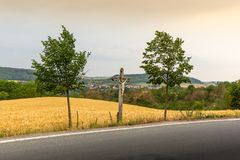 Vibrant Evening Sunset in Czech countryside.  royalty free stock image