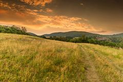 Vibrant Evening Sunset in Czech countryside.  stock photos