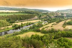Vibrant Evening Sunset in Czech countryside.  royalty free stock photos