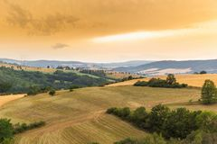 Vibrant Evening Sunset in Czech countryside.  stock photo