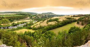Vibrant Evening Sunset in Czech countryside.  stock photography
