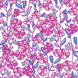 Vibrant field flowers seamless pattern background Stock Images