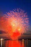Vibrant  firework. Vibrant red-golden  firework in a night sky Royalty Free Stock Photos