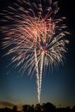 Fireworks at dusk. stock image